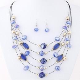 Kék köves nyakék, több soros, fülbevalóval. 00041ec