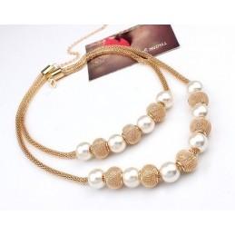 Arany színű fonott nyaklánc gyöngyökkel, fonott gömbökkel 00044ec