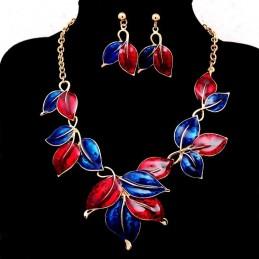Kék - piros színü nyakék, fülbevalóval. 00062ec