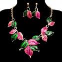 Rózsaszín - zöld színü nyakék, fülbevalóval. 00062-1ec