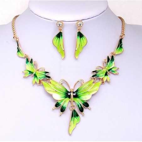 Színes nyakék és fülbevaló, pillangókkal. Zöld. 00083ec
