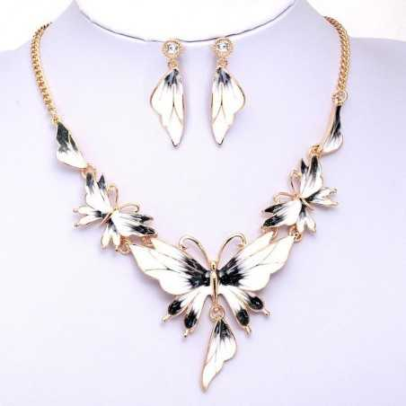 Színes nyakék és fülbevaló, pillangókkal. Fekete, fehér. 00084ec