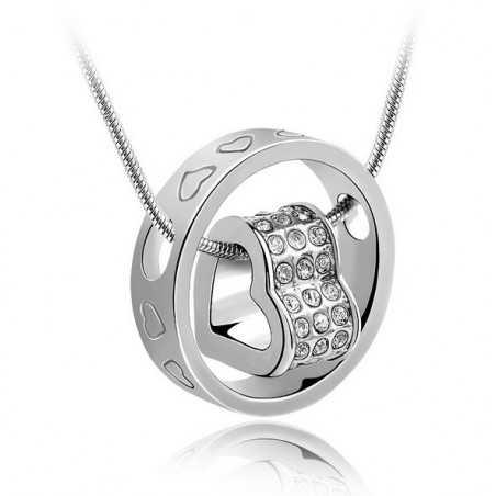 Nyaklánc dupla medállal, gyűrű közepén szív. 00102ec
