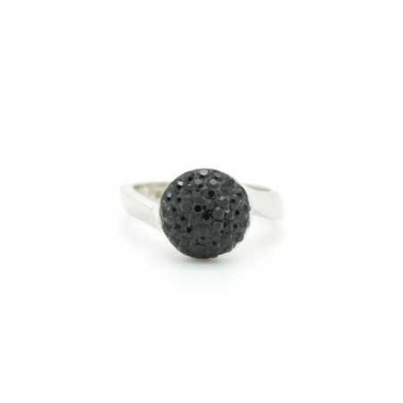 Ezüst gyűrű Swarovski kristállyal. Fekete