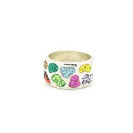 Ezüst gyűrű Swarovski kristállyal. Multicolor 116as