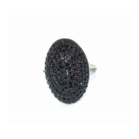Ezüst gyűrű Swarovski kristállyal. Fekete 117as
