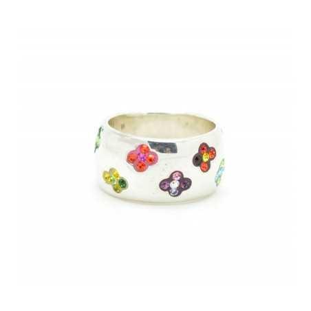 Ezüst gyűrű Swarovski kristállyal. Multicolor 120as