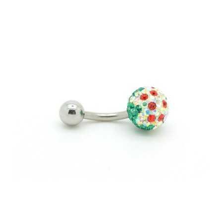 Svarovski kristályokkal díszített köldök piercing. Gömb. 182as