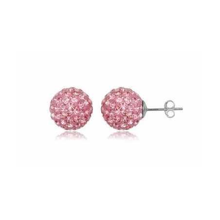 Ezüst Swarovski kristályos gömb 9 mm. Rózsaszín