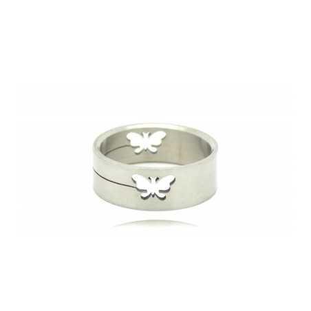 Acél gyűrű, közepén pillangó mintával