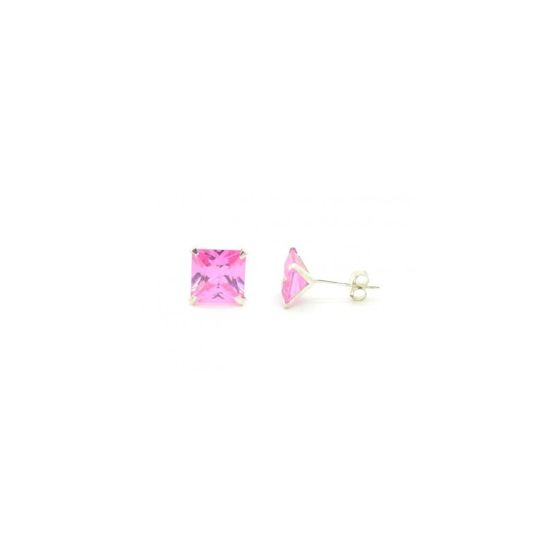 Ezüst fülbevaló rózsaszín csiszolt kővel