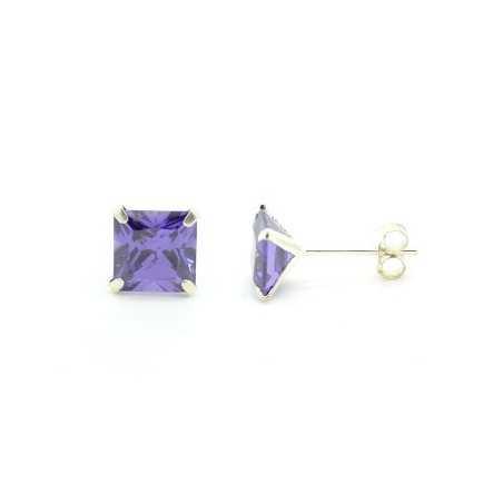 Ezüst fülbevaló lila csiszolt kővel 440as