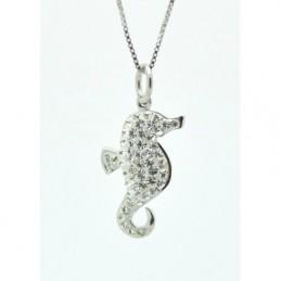 Ezüst nyaklánc, ezüst tengericsikó medállal, Swarovski kristállyal díszítve