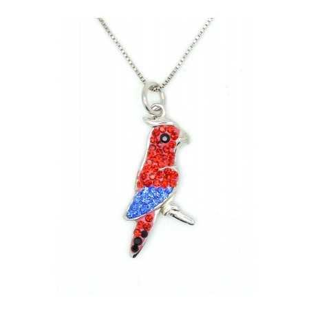 Ezüst nyaklánc, ezüst papagáj medállal, Swarovski kristállyal díszítve