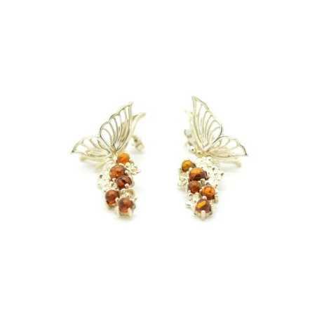 Pillangó formájú ezüst fülbevaló borostyán kövekel díszítve