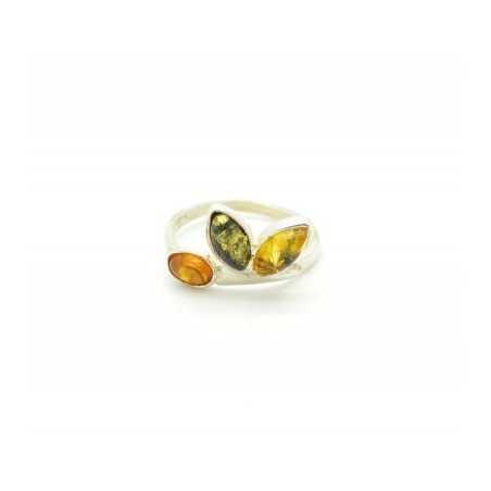 Ezüst gyűrű borostyánnal, multicolor 537as