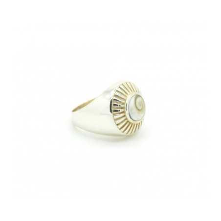 Ezüst gyűrű csiszolt kagylóval 624as