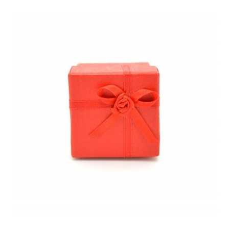Gyűrű és fülbevaló ajándék díszdoboz, masnival. Piros.
