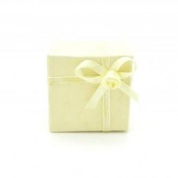 Gyűrű és fülbevaló ajándék díszdoboz, masnival. Sárga.