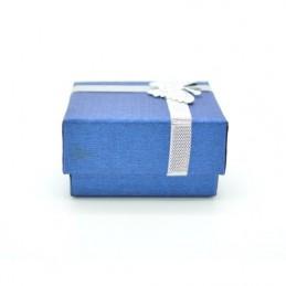 Papír, dupla gyűrű és fülbevaló tartó díszdoboz, masnival. Kék