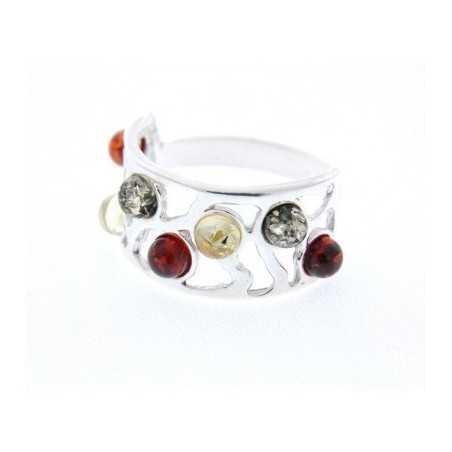 Ezüst gyűrű multikcolor borostyán kövekkel 13as