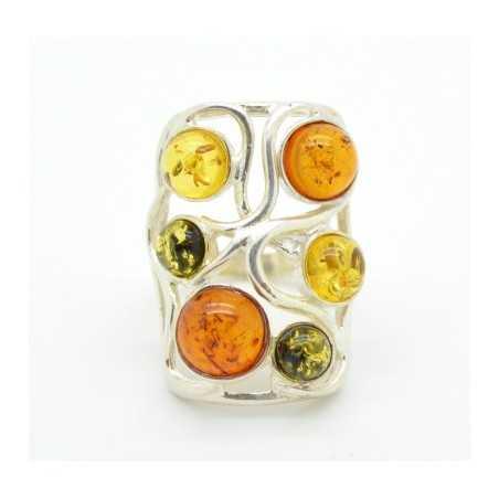 Ezüst gyűrű multicolor borostyán kövekkel 20as