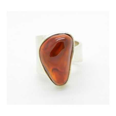 Ezüst gyűrű borostyánnal, állítható méret 73as