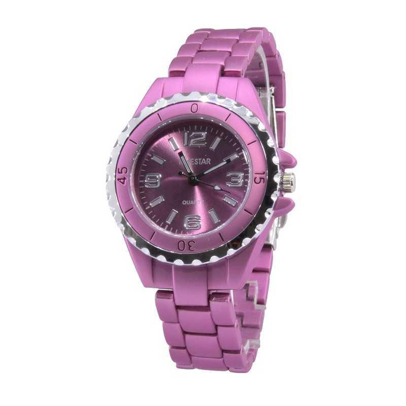 Női Timestar karóra, matt rózsaszín szíjjal, rózsaszín számlappal. 000314oc