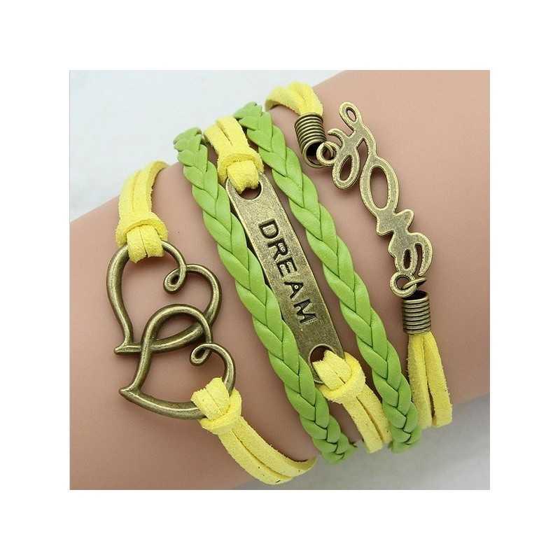 Több soros karkötő bőr karkötő. Zöld - sárga. 00108ec