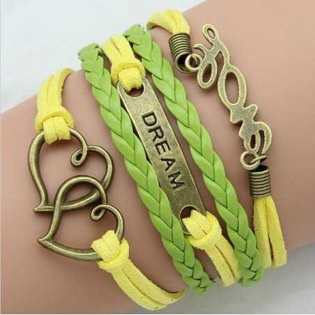 Többsoros bőr karkötő. Zöld - sárga színben. 00108ec