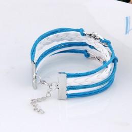 Több soros bőr karkötő. Kék-fehér színben. 00110ec