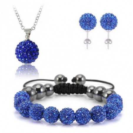 Swarovski kristályos szett. Nyaklánc, medál, karkötő, fülbevaló. Kék 114ec