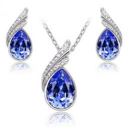 Swarovski kristályos szett. Nyaklánc medál, fülbevaló. Kék 116ec
