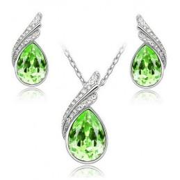 Swarovski kristályos szett. Nyaklánc medál, fülbevaló. Zöld 118ec