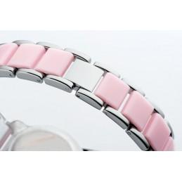 Női karóra divatos színekben, rózsaszín számlappal.