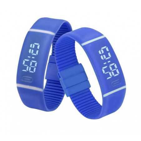 Szilikon szíjas mágnes kapcsos karkötő óra. Kék 356oc
