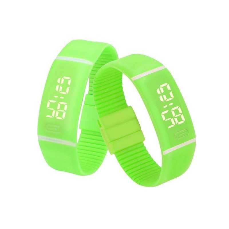 Szilikon szíjas mágnes kapcsos karkötő óra. Zöld 355-1oc