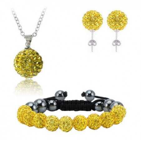 Swarovski kristályos szett. Nyaklánc, medál, karkötő, fülbevaló. Sárga. 112-1ec