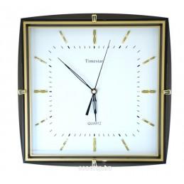 Timestar fekete-arany keretes falióra. 34x34cm.