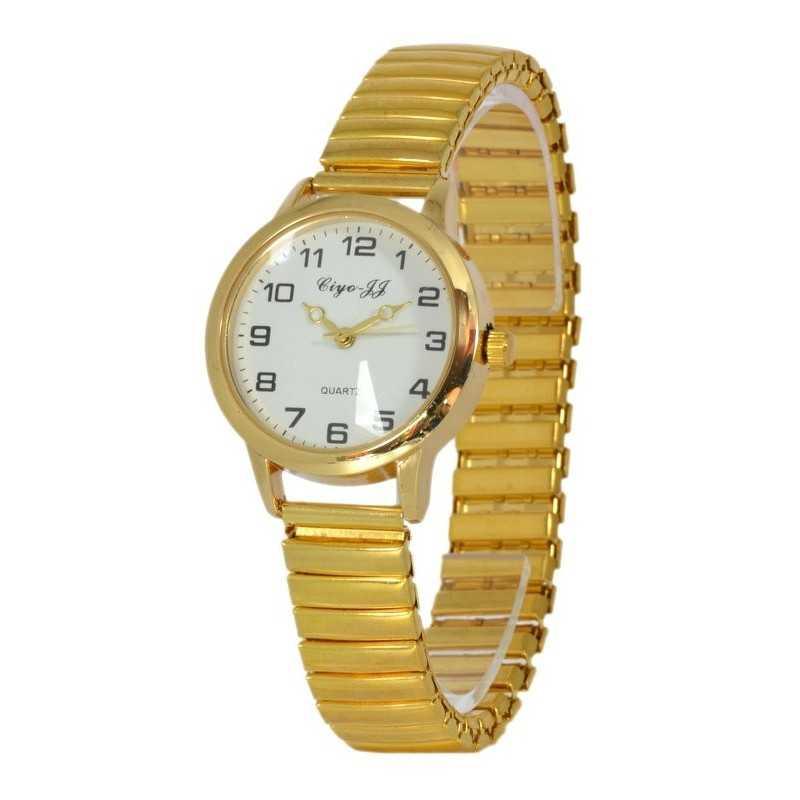 Unisex, arany színű karóra rugós szijjal 3,1 cm-es számlappal 111-11oc