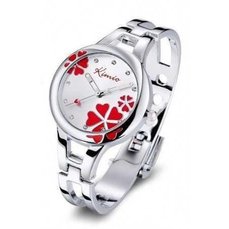 Kimio K425L női karperec óra, ezüst - piros számlappal, strasszokkal. 160oc