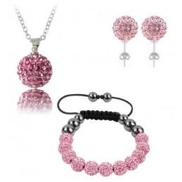 Swarovski kristályos szett. Nyaklánc, medál, karkötő, fülbevaló. Rózsaszín 113-3ec