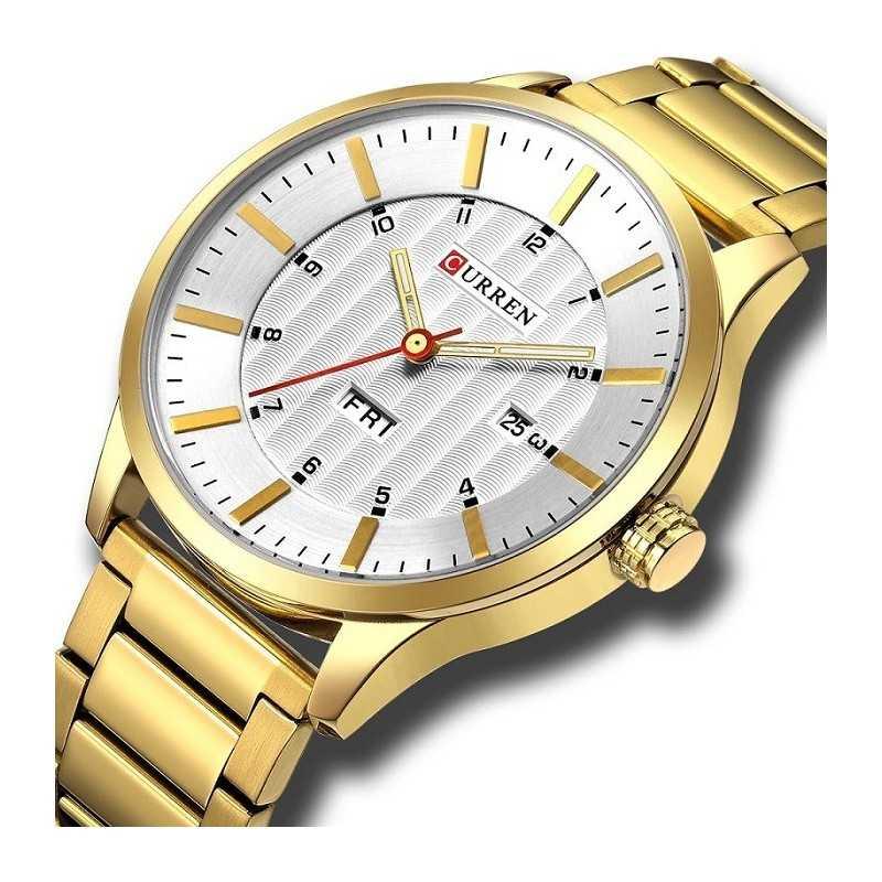 Curren M8316 férfi karóra dátum és nap kijezéssel, arany. 417oc