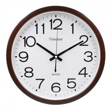 Timestar fehér számlapos, barna keretes falióra. Átmérő: 36 cm. LP