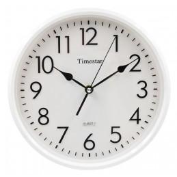 Timestar fehér számlapos, fehér keretes falióra. Átmérő: 26 cm.