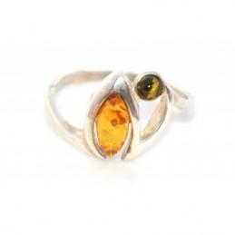 Ezüst gyűrű borostyánnal, multicolor 71as
