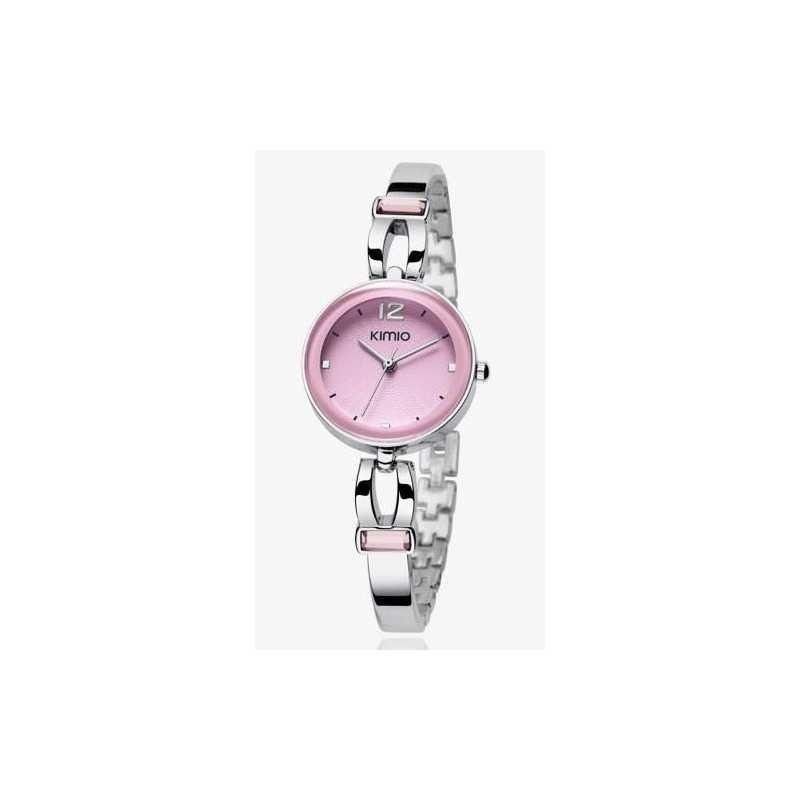 Kimio strasszos női karóra, rózsaszín számlappal, ezüst szíjjal. 424-1oc