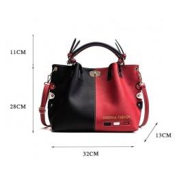 Piros, fekete, kék divatos női táska
