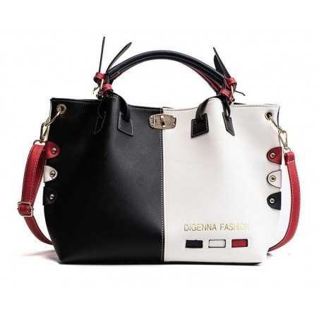 Fehér, fekete, kék divatos női táska