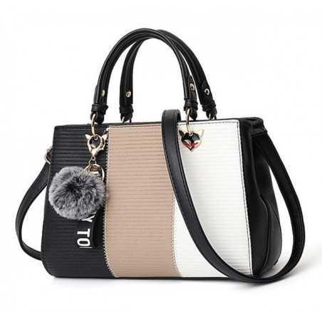 Fekete, barna, fehér divatos női táska